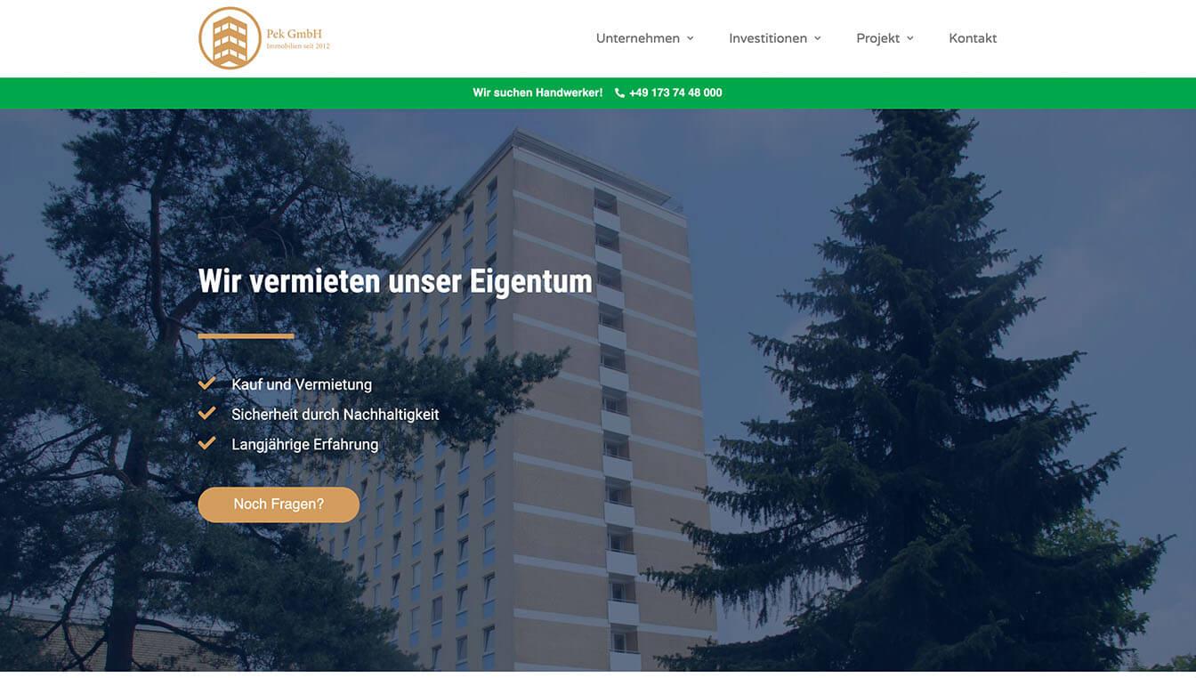 Pek Immobilien - Website-Screenshot