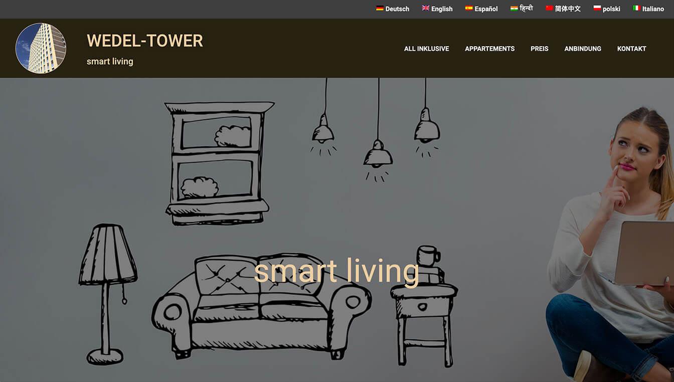 Wedel Tower - Website-Screenshot